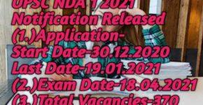 UPSC NDA 1 2021 Exam Notification