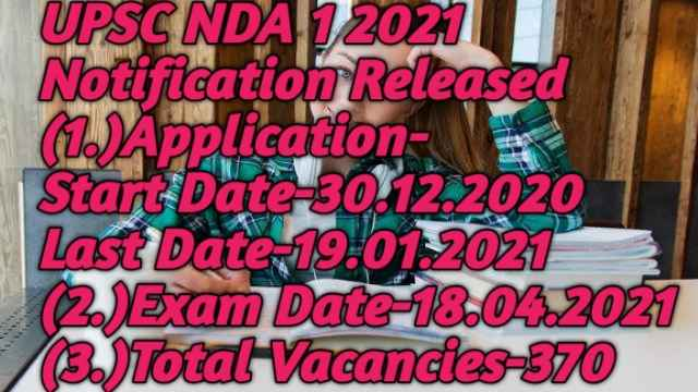 UPSC NDA 1 2021 Notification Released