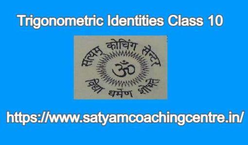 Trigonometric Identities Class 10