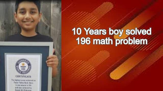 10 Years boy solved 196 math problem