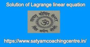 Solution of Lagrange linear equation